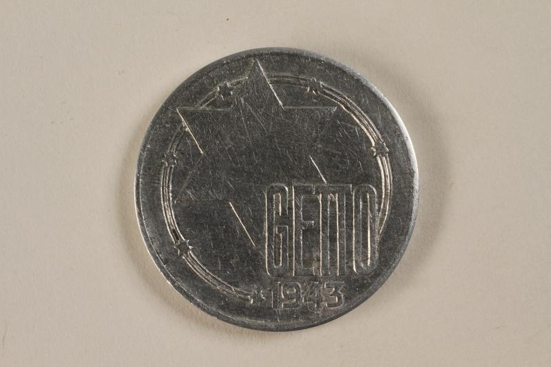 1993.53.4 front Łódź (Litzmannstadt) ghetto scrip, 20 mark coin
