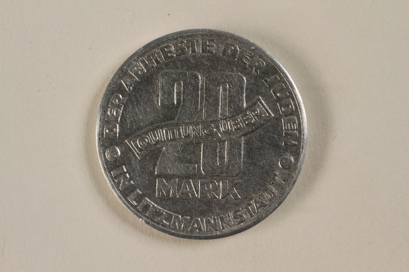 1993.53.4 back Łódź (Litzmannstadt) ghetto scrip, 20 mark coin