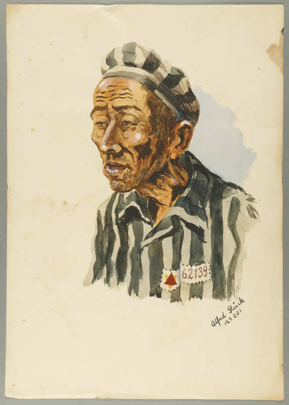 1993.59.11 front Watercolor portrait of a concentration camp survivor created by fellow inmate Alfred Glück in Hasenhecke DP camp