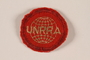 Circular red cloth UNRRA badge worn by a former US soldier as Area Administrator for Germany