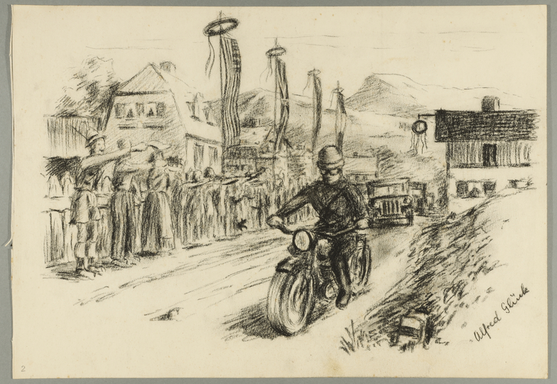 1993.59.2 front Autobiographical drawing of people celebrating liberation created by Alfred Glück in Hasenhecke DP camp