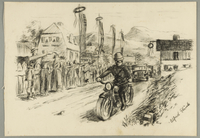 1993.59.2 front Autobiographical drawing of people celebrating liberation created by Alfred Glück in Hasenhecke DP camp  Click to enlarge