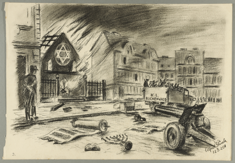 1993.59.4 front Autobiographical drawing of a burning synagogue created by Alfred Glück in Hasenhecke DP camp