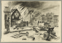 Autobiographical drawing of a burning synagogue created by Alfred Glück in Hasenhecke DP camp