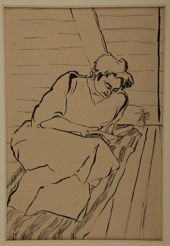1988.1.19 front Drawing of woman reading a book on a mattress (Version I) by a German Jewish internee