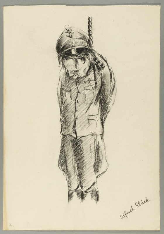 1993.59.5 front Autobiographical drawing of a hanged Nazi soldier created by Alfred Glück in Hasenhecke DP camp