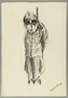 Autobiographical drawing of a hanged Nazi soldier created by Alfred Glück in Hasenhecke DP camp