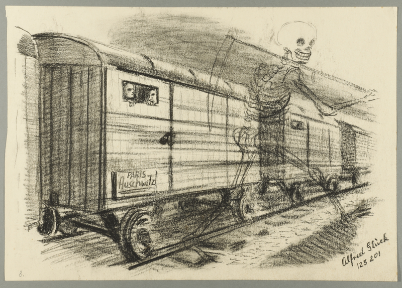 1993.59.6 front Allegorical, autobiographical drawing of a train transport to Auschwitz created by Alfred Glück in Hasenhecke DP camp