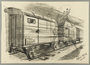 Allegorical, autobiographical drawing of a train transport to Auschwitz created by Alfred Glück in Hasenhecke DP camp
