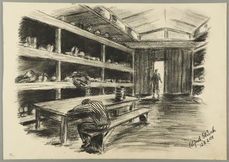 1993.59.7 front Autobiographical drawing of concentration camp inmates in a barracks created by Alfred Glück in Hasenhecke DP camp