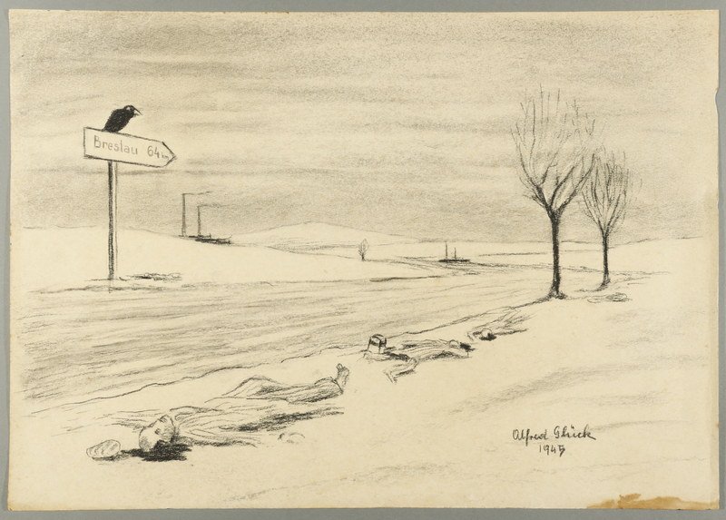 1993.59.8 front Autobiographical drawing of inmates on a death march created by Alfred Glück in Hasenhecke DP camp