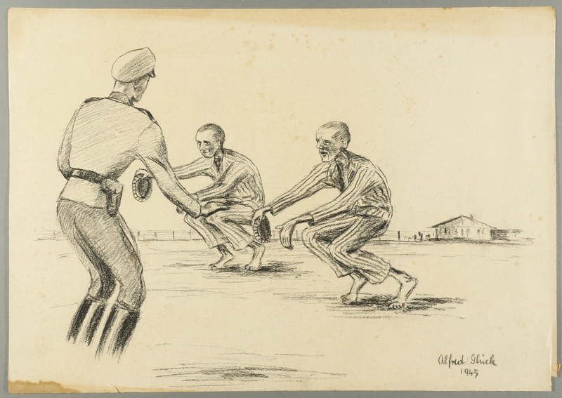 1993.59.9 front Autobiographical drawing of concentration camp inmates being punished by a guard created by Alfred Glück in Hasenhecke DP persons camp