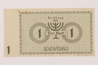 1993.60.1 back Lodz (Litzmannstadt) ghetto scrip, 1 mark note  Click to enlarge