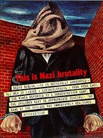 1993.65.1_poster_This is Nazi Brutality Ben Shahn poster with an image of a hooded man protesting the Nazi destruction of Lidice  Click to enlarge