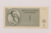 1993.74.1 front Theresienstadt ghetto-labor camp scrip, 1 krone note  Click to enlarge