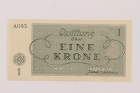 1993.74.1 back Theresienstadt ghetto-labor camp scrip, 1 krone note  Click to enlarge