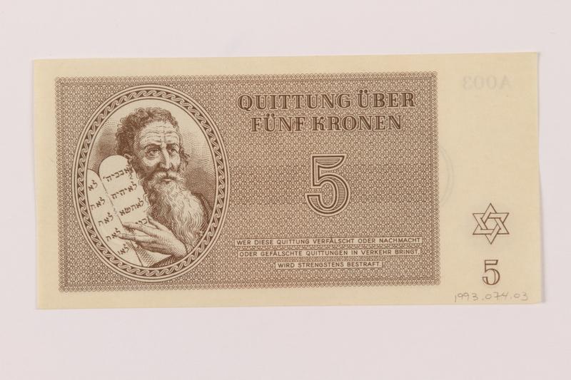 1993.74.3 front Theresienstadt ghetto-labor camp scrip, 5 kronen note