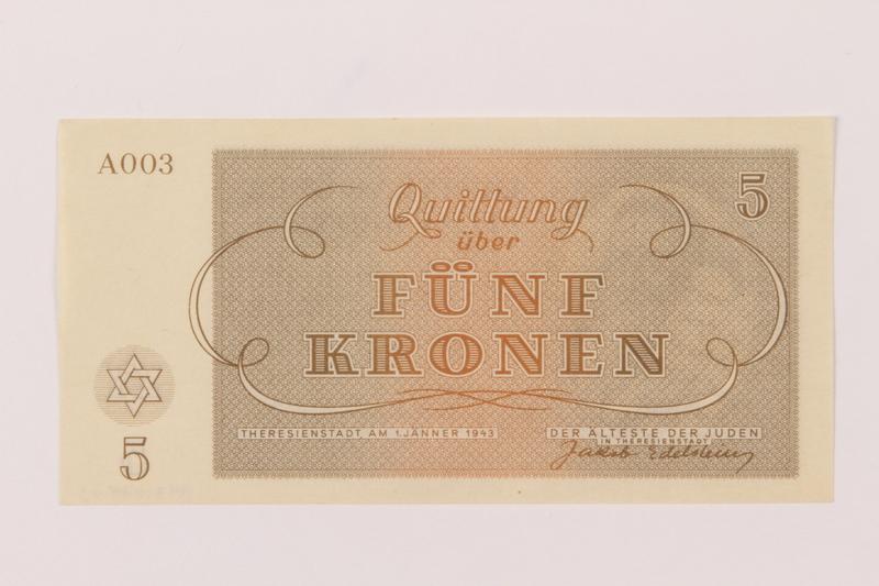 1993.74.3 back Theresienstadt ghetto-labor camp scrip, 5 kronen note