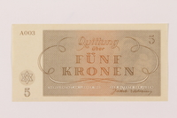 1993.74.3 back Theresienstadt ghetto-labor camp scrip, 5 kronen note  Click to enlarge