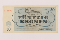1993.77.6 back Theresienstadt ghetto-labor camp scrip, 50 kronen note  Click to enlarge