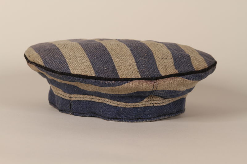 1993.80.1 front Concentration camp inmate uniform cap worn by an inmate of Auschwitz