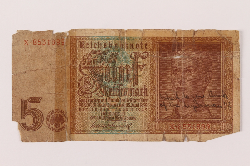 1993.84.2 front 5 Reichsmark bank note