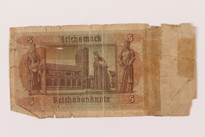 1993.84.2 back 5 Reichsmark bank note