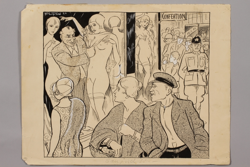 1993.86.1 front Antisemitic cartoon by Fips of a Jew selling nude women in a shop window acquired by a US soldier