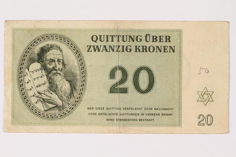 1993.88.2 front Theresienstadt ghetto-labor camp scrip, 20 kronen note