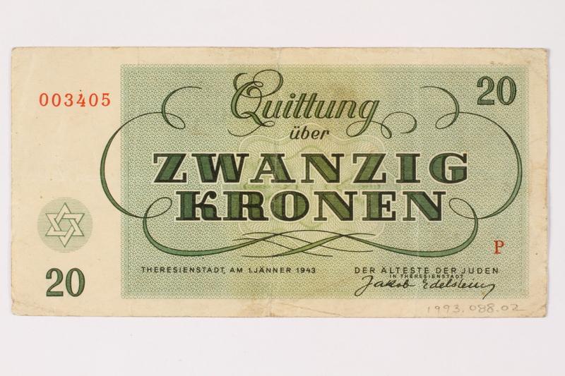 1993.88.2 back Theresienstadt ghetto-labor camp scrip, 20 kronen note