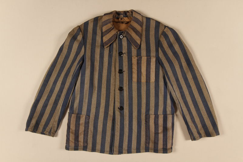 1993.90.1 front Concentration camp uniform jacket worn by a Polish Jewish inmate