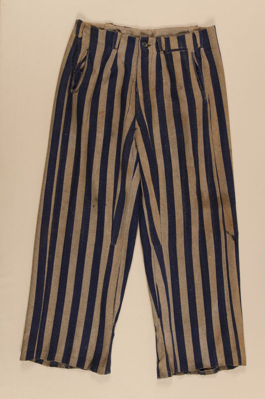 1993.90.2 front Concentration camp uniform pants worn by a Polish Jewish inmate