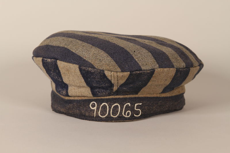 1993.90.3 front Concentration camp uniform cap with 90065 worn by a Polish Jewish inmate