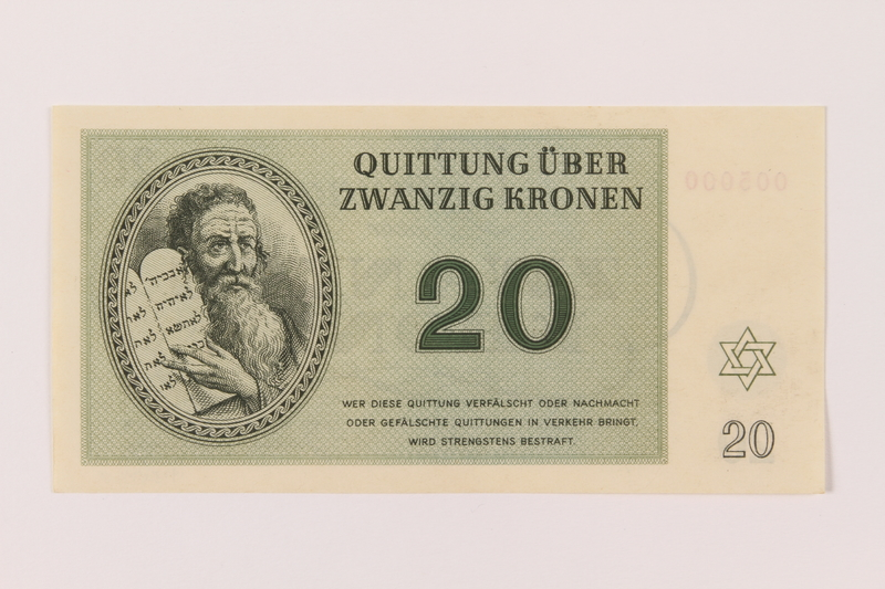 1993.94.4 front Theresienstadt ghetto-labor camp scrip, 20 kronen note