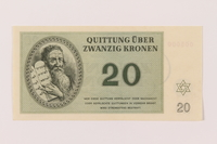 1993.94.4 front Theresienstadt ghetto-labor camp scrip, 20 kronen note  Click to enlarge