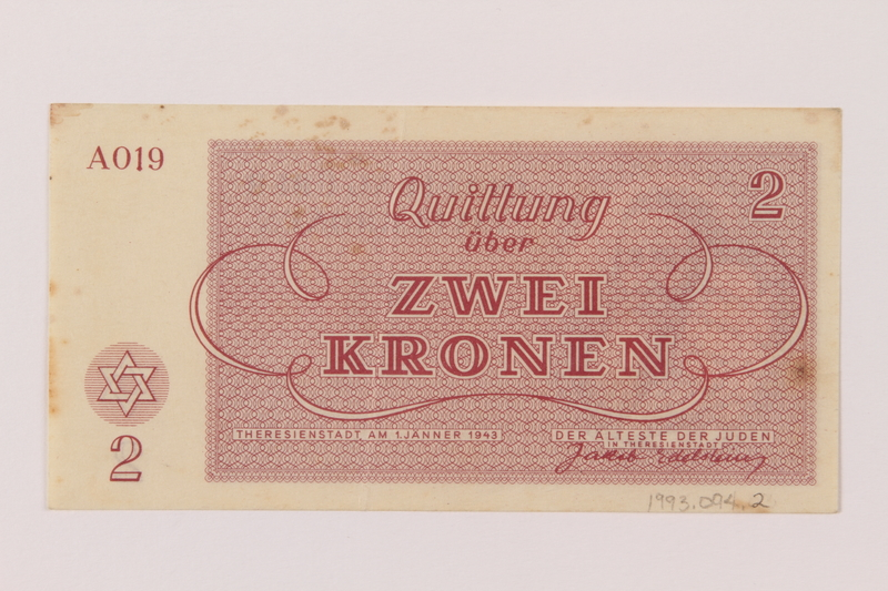 1993.94.2 back Theresienstadt ghetto-labor camp scrip, 20 kronen note