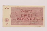 1993.94.2 back Theresienstadt ghetto-labor camp scrip, 20 kronen note  Click to enlarge