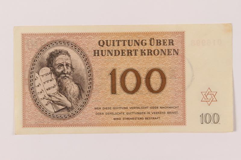 1993.94.6 front Theresienstadt ghetto-labor camp scrip, 100 kronen note