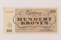 1993.94.6 back Theresienstadt ghetto-labor camp scrip, 100 kronen note  Click to enlarge
