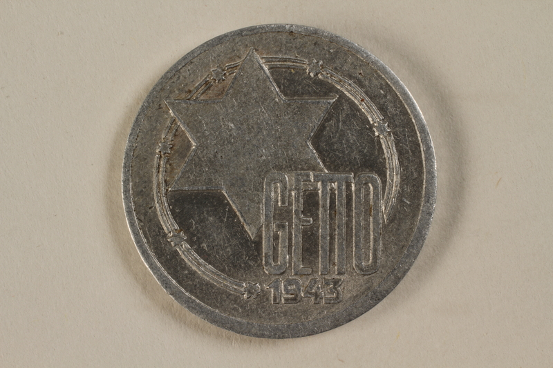 1993.96.2 front Łódź (Litzmannstadt) ghetto scrip, 10 mark coin