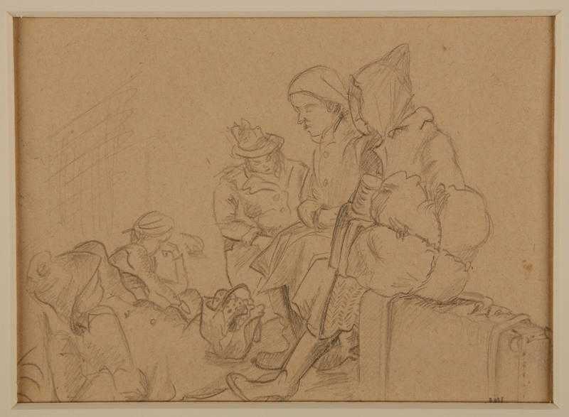 1988.1.1 a front Two-sided drawing of women awaiting transport and at Gurs internment camp by a German Jewish internee