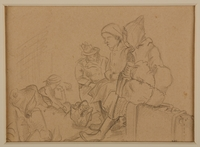1988.1.1 a front Two-sided drawing of women awaiting transport and at Gurs internment camp by a German Jewish internee  Click to enlarge