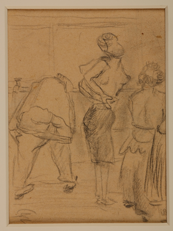 1988.1.1 b front Two-sided drawing of women awaiting transport and at Gurs internment camp by a German Jewish internee