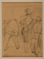 1988.1.1 b front Two-sided drawing of women awaiting transport and at Gurs internment camp by a German Jewish internee  Click to enlarge