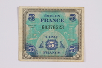 2014.480.110 front French five francs scrip  Click to enlarge