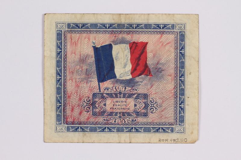 2014.480.110 back French five francs scrip