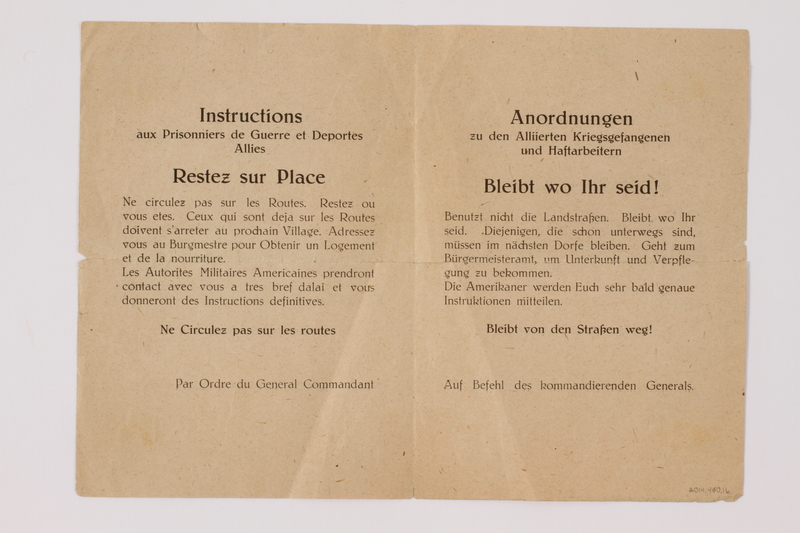 2014.480.16 back Instructions for Allied Prisoners of War and Displaced Persons