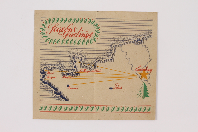 2014.480.12 open Christmas card, 8th Infantry division, 1944