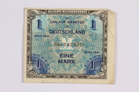2014.480.111 front German one mark scrip  Click to enlarge