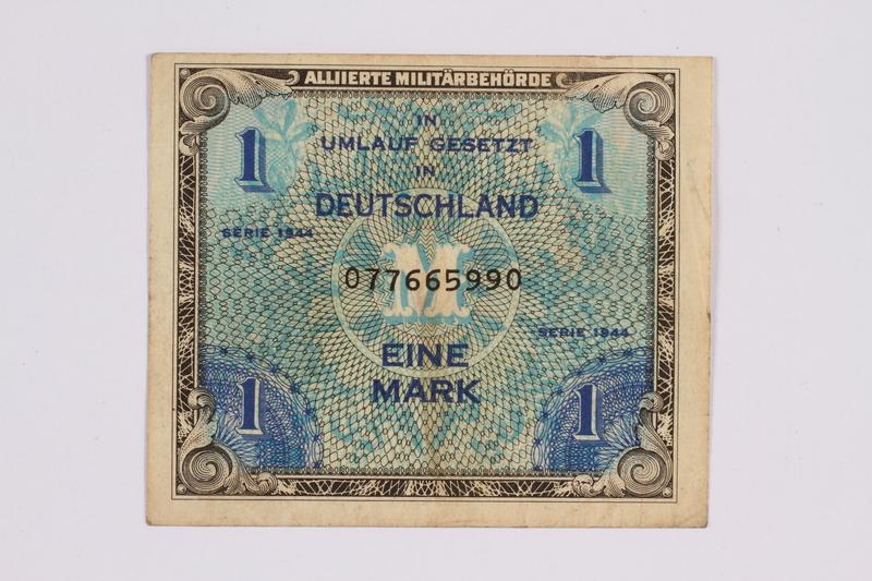 2014.480.117 front German one mark scrip